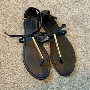 Forever 21 Black Sandals with Gold Bar Detail
